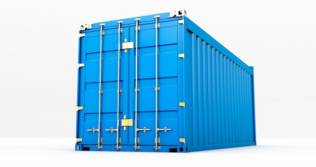 3d rendering of cargo container isolated on white background. containers box from cargo freight ship