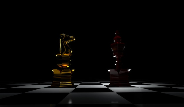 Premium Photo 3d Rendering Of Chess Leadership Concept Isolated In Black Background