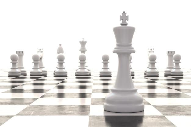3d-рендеринг шахматных фигур на глянцевой шахматной доске Premium Фотографии