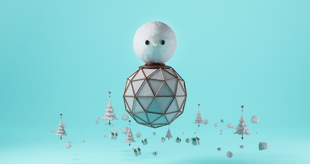 3d Rendering Of Christmas Giant Snowman Floating On Blue Background Surrounded By Christmas Trees And Gift Boxes Abstract Minimal Concept Luxury Minimalist Premium Photo