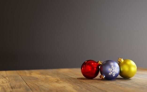 3d 렌더링, 크리스마스 장식품 나무 테이블에 공 프리미엄 사진