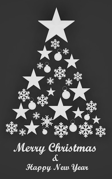 3d rendering, christmas tree made of  stars and snowflakes on black background. chic christmas greeting card, merry christmas and happy new year Premium Photo
