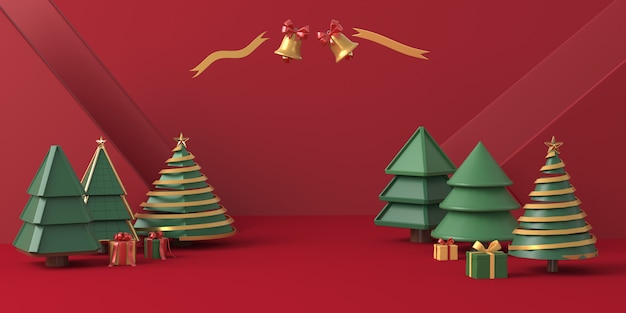 3d rendering christmas tree with red background Premium Photo