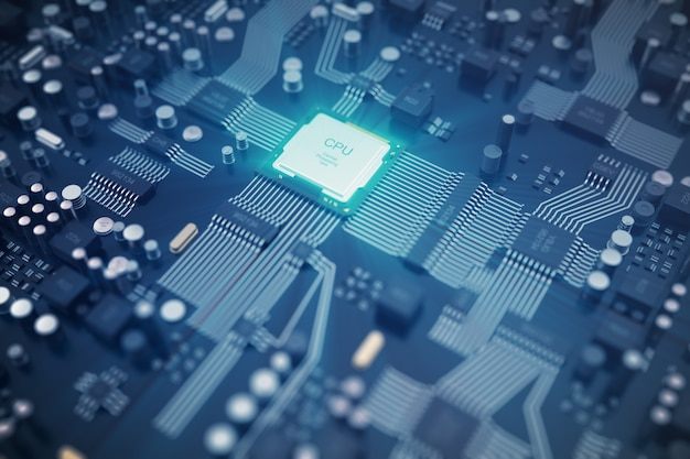 3d rendering circuit board. technology background. central computer processors cpu concept Premium Photo