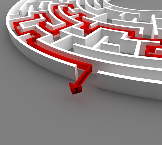 3d rendering circular maze with solution. Premium Photo