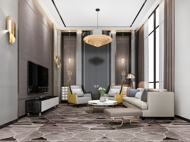 샹들리에와 장식 3d 렌더링 클래식 럭셔리 거실 로비 라운지 프리미엄 사진