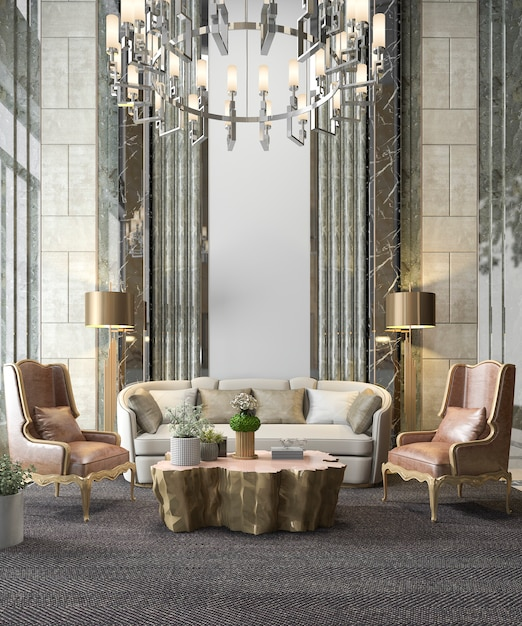 3d rendering classic luxury living room with chandelier and decor Premium Photo