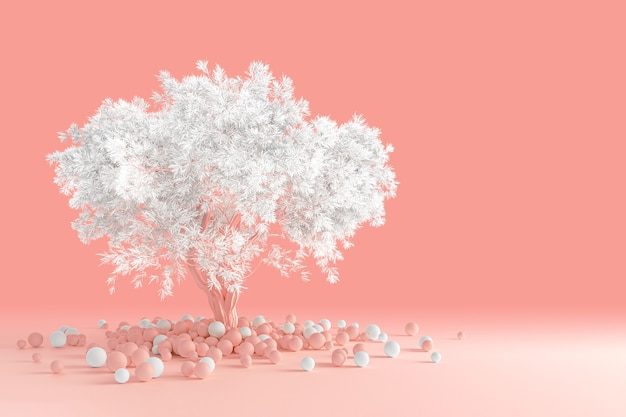 3d rendering of clean minimal design of a coniferous fluffy tree with a white crown isolated on a light pink coral table with scattered multicolored balls near the trunk. Premium Photo