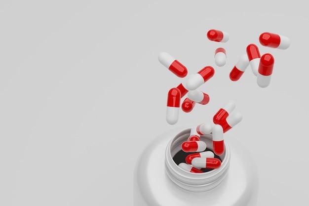 3d rendering close up open bottle and splash capsules  pills Premium Photo