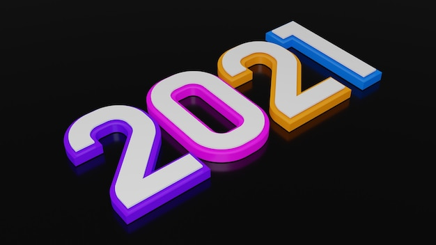 3d rendering of colorful typography of 2021 new year Premium Photo