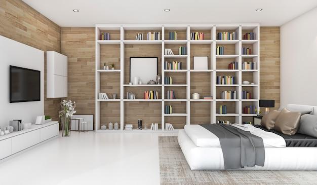 3d rendering contemporary wood bedroom with built in for Rendering 3d gratis