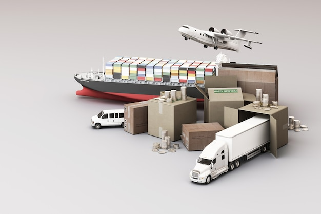 3d rendering of the crate box surrounded by cardboard boxes, a cargo container ship, a flying plan,