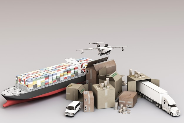 3d rendering of the crate box surrounded by cardboard boxes, a cargo container ship, a flying plan, a car, a van and a truck Premium Photo