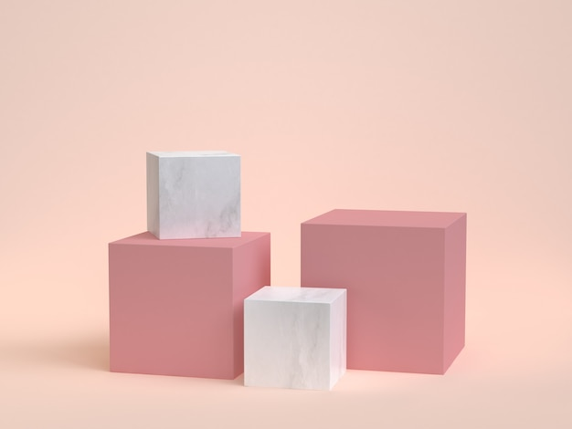 3d rendering cube-box white marble minimal cream Premium Photo