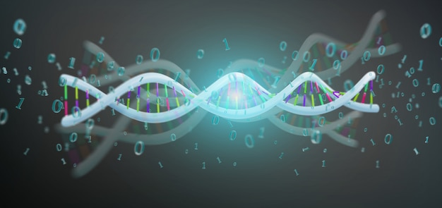 3d rendering data coded dna with binary file around Premium Photo