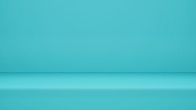 3dレンダリング、ディスプレイ製品またはバナーwebサイト用のコピースペースを備えた空の水色のスタジオルームの背景 Premium写真