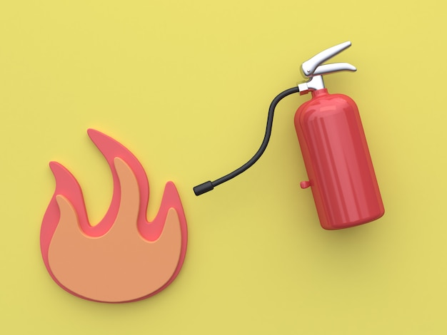 3d rendering fire extinguisher yellow background Premium Photo
