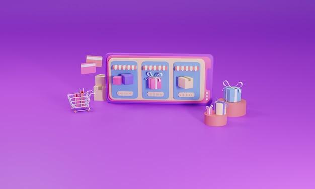 3d rendering flat illustration online shopping store on mobile application of smartphone.