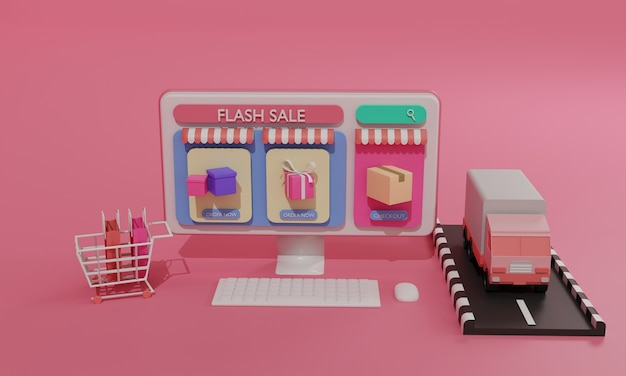 3d rendering flat illustration online shopping store on mobile application and truck cargo shipping