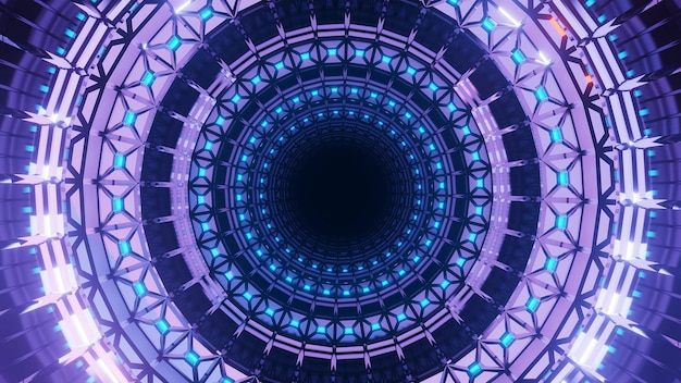 A 3d rendering of a futuristic background with circular shapes and neon purple lights Free Photo