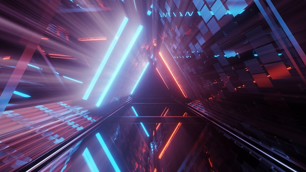3d rendering of a futuristic background with geometric shapes and colorful neon lights Free Photo