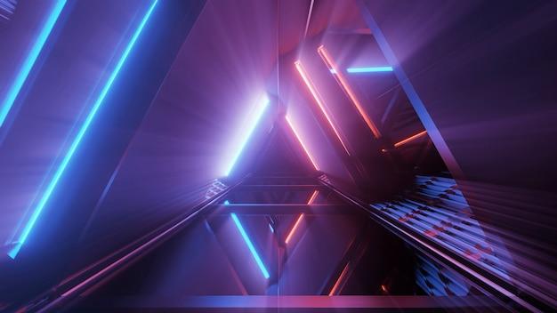 Rendering 3d di uno sfondo futuristico con forme geometriche e luci al neon colorate Foto Gratuite