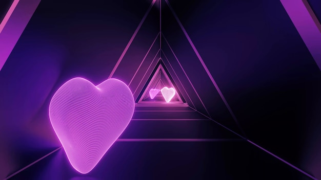 3d rendering of a futuristic room with heart shapes and purple neon lights Free Photo