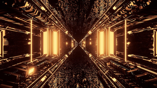 3d-рендеринг футуристических научно-фантастических техно-огней - крутой фон Бесплатные Фотографии