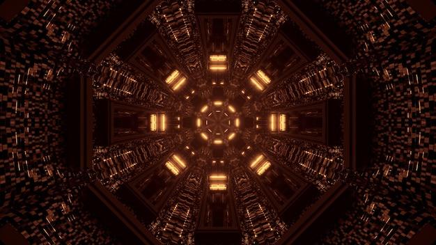 Rendering 3d futuristico sfondo techno con luci che creano forme fresche Foto Gratuite