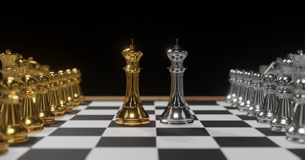 3d rendering gold and silver chess., contradiction concept. Premium Photo