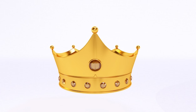 3d rendering of golden crown isolated on white background. Premium Photo