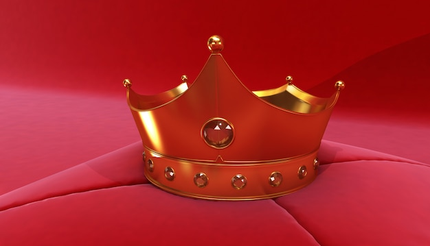 3d rendering of golden crown on a red background, royal gold crown on  pillow Premium Photo