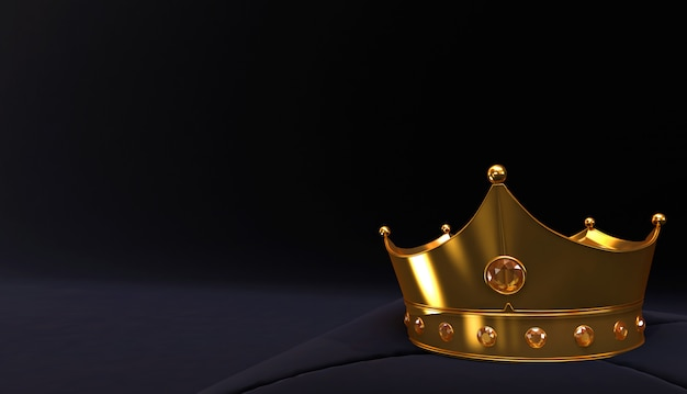 3d rendering of golden crown, royal gold crown on  pillow Premium Photo