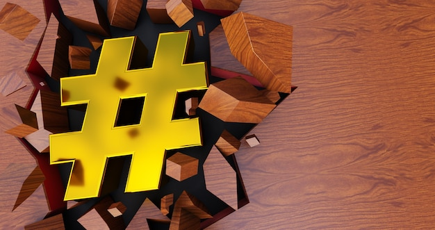 3d rendering of golden hashtag icon on cracked background, gold hashtag on wooden background Premium Photo