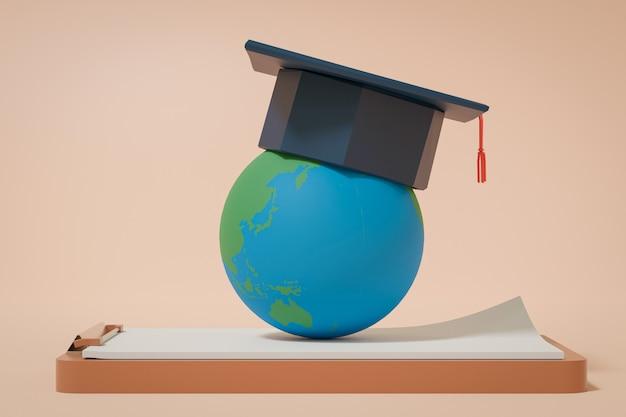 3d-рендеринг, выпускной колпачок на земном шаре и буфер обмена, обратно в школу концепции Premium Фотографии