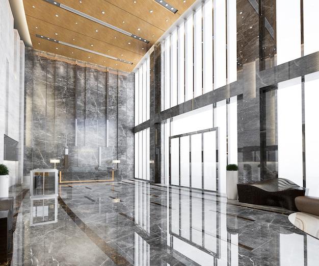 높은 천장과 3d 렌더링 그랜드 고급 호텔 리셉션 홀 입구와 라운지 레스토랑 프리미엄 사진