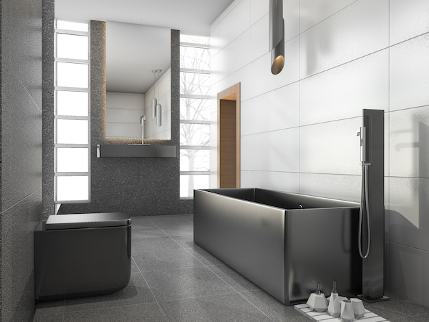 3d rendering grey stainless metal bathroom with white tile and stone tile Premium Photo
