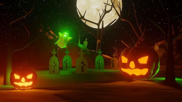 3d рендеринг хэллоуин с тыквами и привидениями Premium Фотографии