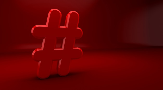 3d rendering of hashtag internet notification concept on a red background. hash symbol. Premium Photo