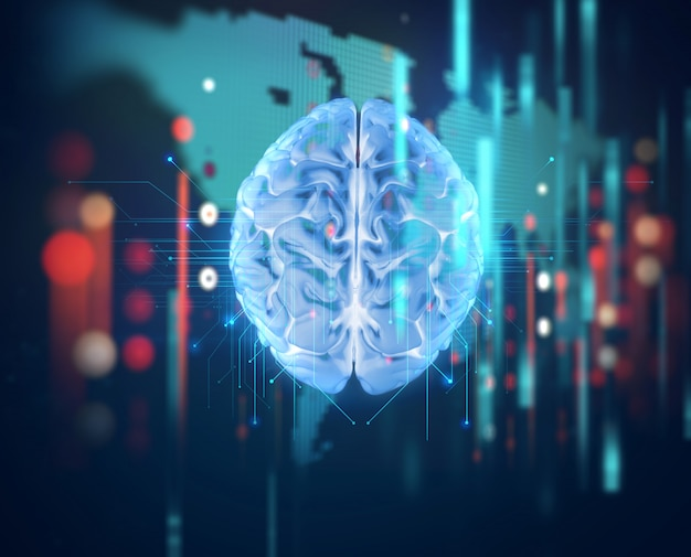 3d rendering of human  brain on technology background Premium Photo