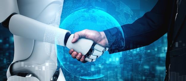 3d-рендеринг рукопожатия робота-гуманоида для совместной работы с технологиями будущего Premium Фотографии