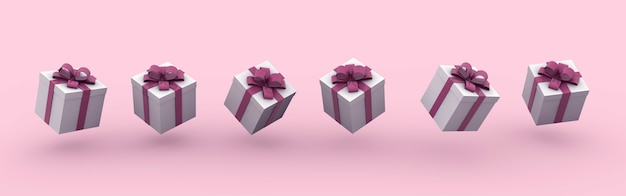3d rendering illustration of gift boxes with bows on a pink background Free Photo