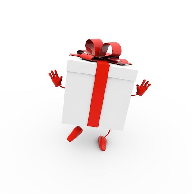 白い背景の上の赤い弓とギフトボックスの3dレンダリングイラスト 無料写真