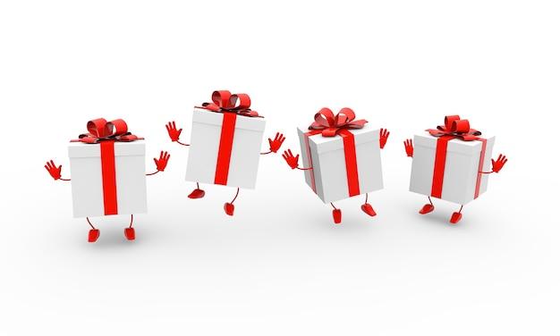 흰색 배경에 리본으로 선물 상자 춤의 3d 렌더링 그림 무료 사진