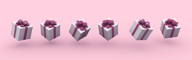 ピンクの背景に弓とギフトボックスの3dレンダリングイラスト 無料写真