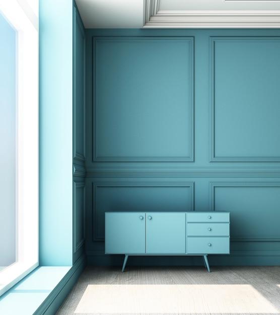 Иллюстрация перевода 3d живущей комнаты с голубой роскошной классической панелью стены и низким шкафом Premium Фотографии