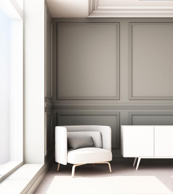 Иллюстрация перевода 3d живущей комнаты с роскошными классическими панелью стены и креслом Premium Фотографии