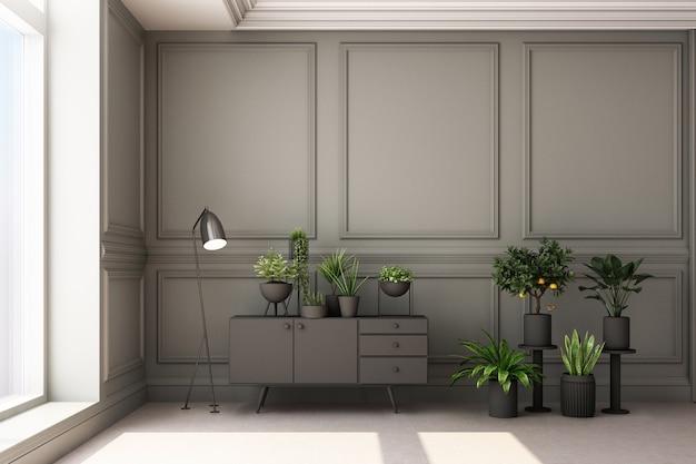 Иллюстрация перевода 3d живущей комнаты с роскошными классическими панелью стены и заводами Premium Фотографии