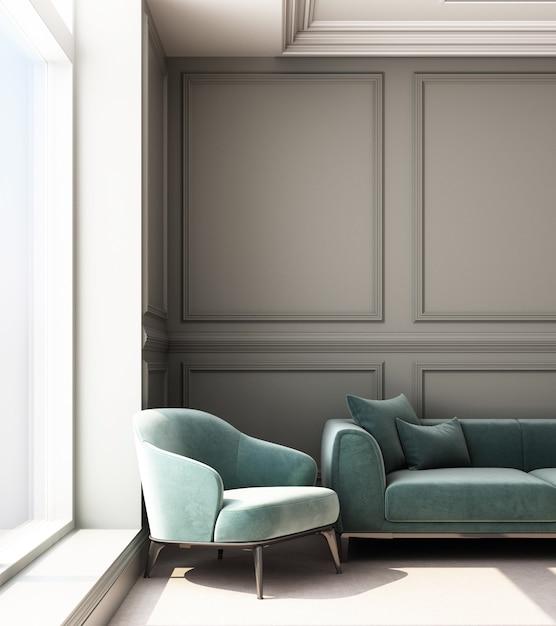 Иллюстрация перевода 3d живущей комнаты с роскошными классическими панелью стены и софой Premium Фотографии