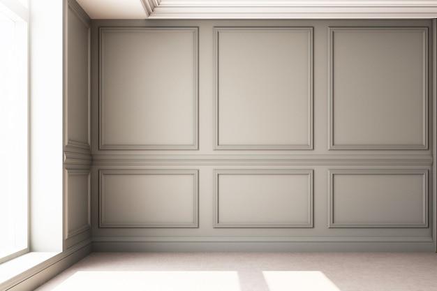 Иллюстрация перевода 3d живущей комнаты с роскошной классической панелью стены Premium Фотографии